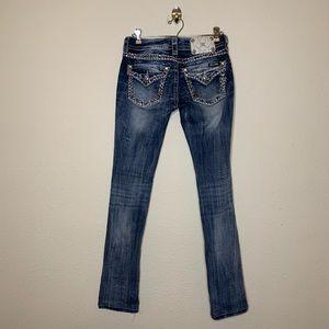 Miss Me Distressed Embellish Signature Cuff Jeans